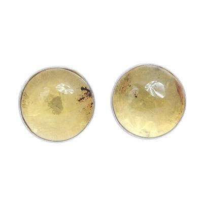 Handcrafted Round Amber and Sterling Silver Cufflinks