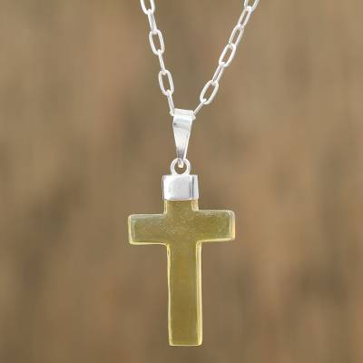 Amber cross pendant necklace, 'Translucent Transcendence' - Handcrafted Amber and Sterling Silver Cross Pendant Necklace