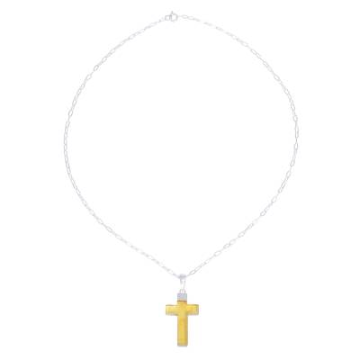 Handcrafted Amber and Sterling Silver Cross Pendant Necklace