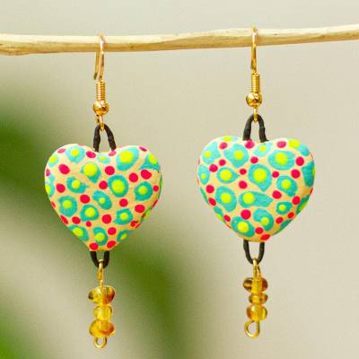 Amber dangle earrings, 'Confetti Heart' - Colorful Heart-Shaped Amber Dangle Earrings from Mexico