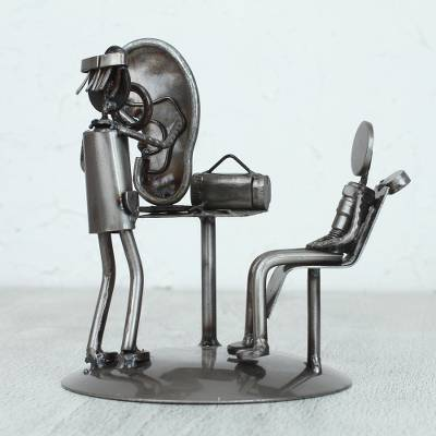 Upcycled metal auto part sculpture, 'Doctor's Office' - Upcycled Metal Auto Part Doctor Sculpture from Mexico