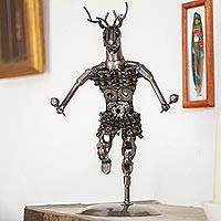Upcycled metal auto part sculpture, 'Deer Dance' - Upcycled Metal Auto Part Sculpture from Mexico