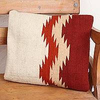 Wool cushion cover, 'Fret Waves in Red' - Ivory and Dark Red Fret Motif Handwoven Wool Cushion Cover
