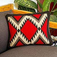 Wool cushion cover, 'Fret Framed Diamonds' - Dark Red Diamond Motif Handwoven Wool Cushion Cover