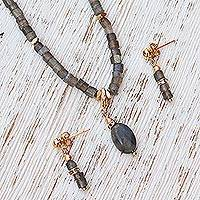 Gold plated labradorite jewelry set, 'Mystical Glory' - Labradorite and 14k Gold Accent Necklace and Earrings Set