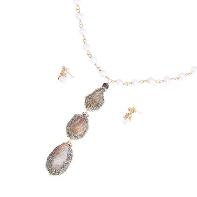 Gold Plated Cultured Pearl and Agate Geode Jewelry Set