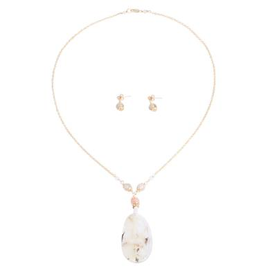 Gold Plated Quartz and Agate Necklace and Earring Set