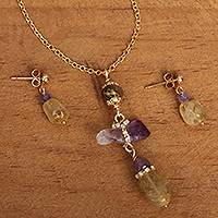 Gold plated multi-gemstone jewelry set, 'Mesmerizing Wonder' - Gold Plated Quartz and Agate Jewelry Set from Mexico