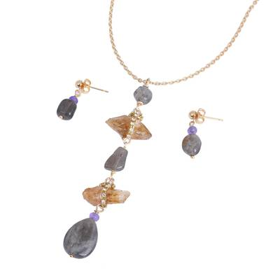 Gold Plated Citrine and Labradorite Jewelry Set from Mexico