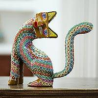 Wood alebrije sculpture, 'Cheerful Curiosity' - Handcrafted Copal Wood Alebrije Cat Sculpture from Mexico