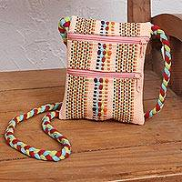 Cotton sling, 'Delicious Peach' - Handwoven Cotton Sling in Pale Peach from Mexico