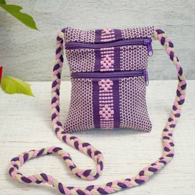 Cotton sling, 'Pink Diamonds' - Handwoven Cotton Sling in Purple and Pink from Mexico
