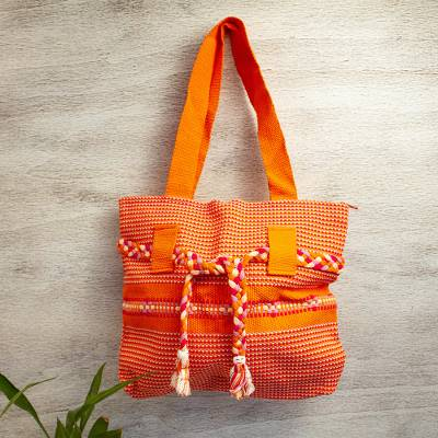 Cotton shoulder bag, 'Desert Delicacy' - Handwoven Cotton Shoulder Bag in Flame from Mexico