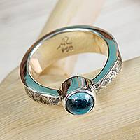 Blue topaz solitaire ring, 'Xolotl Gleam' - Taxco Silver Blue Topaz Solitaire Ring from Mexico