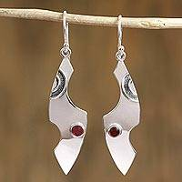 Garnet dangle earrings, 'Medieval Forms' - Taxco Silver Garnet Dangle Earrings from Mexico