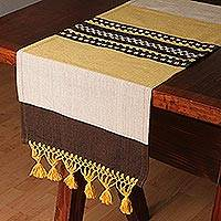 Cotton and silk blend table runner, 'Sun and Sand' - Cotton and Silk Blend Table Runner in Yellow and Brown