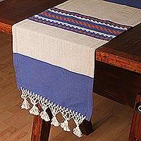 Cotton and silk blend table runner, 'Blue-Violet Beach' - Cotton and Silk Blend Table Runner Blue-Violet and Beige