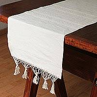 Cotton and silk blend table runner, 'Alabaster Cloud' - Cotton and Silk Blend Table Runner in Alabaster from Mexico