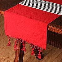 Cotton and silk blend table runner, 'Chili Nile' - Cotton and Silk Blend Table Runner in Chili from Mexico