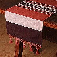 Cotton and silk blend table runner, 'Desert Roads' - Cotton and Silk Blend Table Runner in Burgundy and Orange