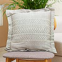 Cotton and silk blend cushion cover, 'Soapstone' - Cotton and Silk Blend Cushion Cover in Grey from Mexico