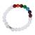 Agate and tiger's eye beaded stretch bracelet, 'Seven Chakras in White' - Agate and Tiger's Eye Chakra Bracelet in White from Mexico (image 2b) thumbail