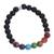 Agate and tiger's eye beaded stretch bracelet, 'Seven Chakras in Black' - Agate and Tiger's Eye Chakra Bracelet in Black from Mexico (image 2a) thumbail