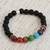 Agate and tiger's eye beaded stretch bracelet, 'Seven Chakras in Black' - Agate and Tiger's Eye Chakra Bracelet in Black from Mexico (image 2b) thumbail