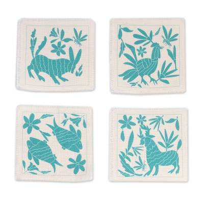 Animal-Themed Cotton Coasters in Turquoise (Set of 4)