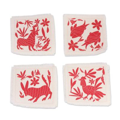 Animal-Themed Cotton Coasters in Red from Mexico (Set of 4)