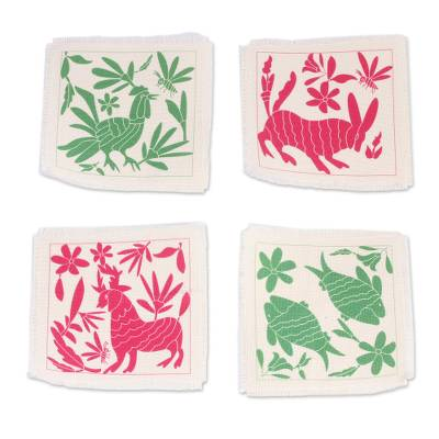 Animal-Themed Cotton Coasters in Pink and Green (Set of 4)