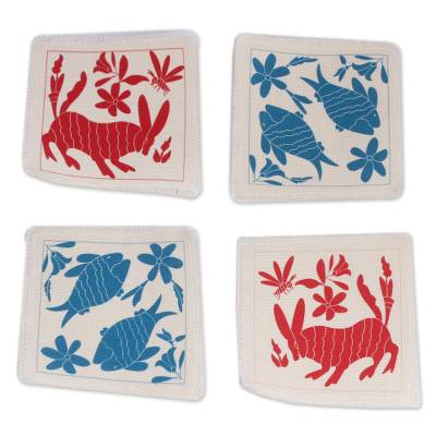 Animal-Themed Cotton Coasters in Red and Blue (Set of 4)
