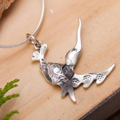 Sterling silver pendant necklace, 'Lilting Hummingbird' - Hummingbird in Flight Sterling Silver Pendant Necklace