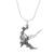 Sterling silver pendant necklace, 'Lilting Hummingbird' - Hummingbird in Flight Sterling Silver Pendant Necklace (image 2a) thumbail