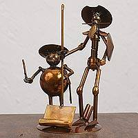 Upcycled metal auto part sculpture, 'Quixote and Sancho' - Upcycled Metal Auto Part Don Quixote Sculpture from Mexico