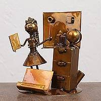 Upcycled metal auto part sculpture, 'Teacher' - Upcycled Metal Auto Part Teacher Sculpture from Mexico