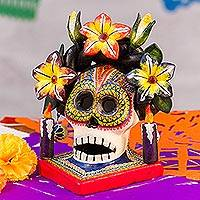 Ceramic candle holder, 'Floral Frida' - Floral Skull Ceramic Candle Holder from Mexico