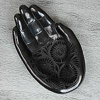 Ceramic catchall, 'Emptyhanded' - Hand-Shaped Barro Negro Ceramic Catchall from Mexico