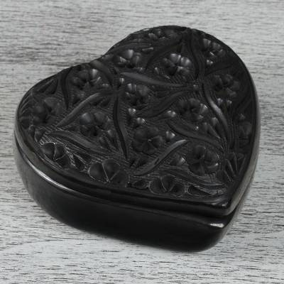 Ceramic decorative box, 'Barro Negro Heart' - Heart-Shaped Barro Negro Ceramic Decorative Box from Mexico