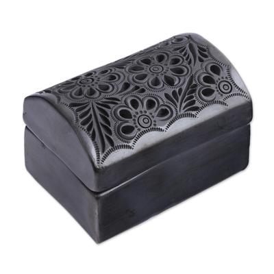 Floral Barro Negro Ceramic Decorative Box from Mexico