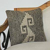 Wool cushion cover, 'Taupe Grecas' - Handwoven Wool Cushion Cover with Taupe Geometry from Mexico