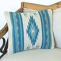 Wool cushion cover, 'Blue Diamonds' - Wool Cushion Cover with Blue Diamond Motifs from Mexico