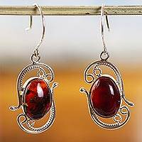 Amber drop earrings, 'Unearthed Treasure' (Mexico)