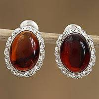 Amber drop earrings, 'Ancient Pools' - Handcrafted Oval Amber and Sterling Silver Drop Earrings