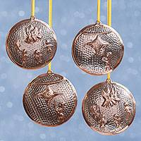 Sterling silver plated copper ornaments, 'Mexican Traditions' (set of 4) - Cultural Sterling Silver Plated Copper Ornaments (Set of 4)