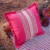 Cotton cushion cover, 'Sweet Cerise' - Handwoven Cotton Cushion Cover in Cerise from Mexico