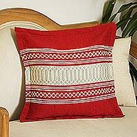 Cotton cushion cover, 'Chili Passion' - Handwoven Cotton Cushion Cover in Chili from Mexico