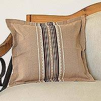 Cotton cushion cover, 'Relaxing Hue' - Handwoven Cotton Cushion Cover in Cafe Au Lait from Mexico