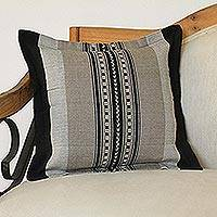 Cotton cushion cover, 'River Rocks' - Handwoven Striped Cotton Cushion Cover from Mexico