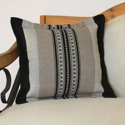 Zapotec cotton cushion cover, 'River Rocks' - Handwoven Striped Cotton Cushion Cover from Mexico
